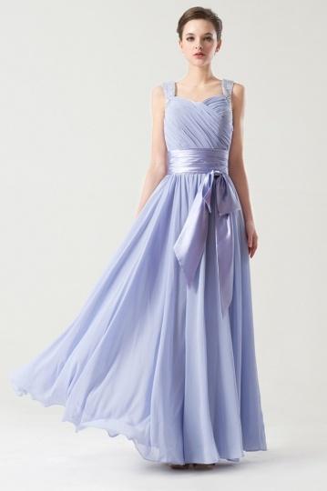 Elegantes Perlen Schleife Chiffon langes Brautjungfernkleid