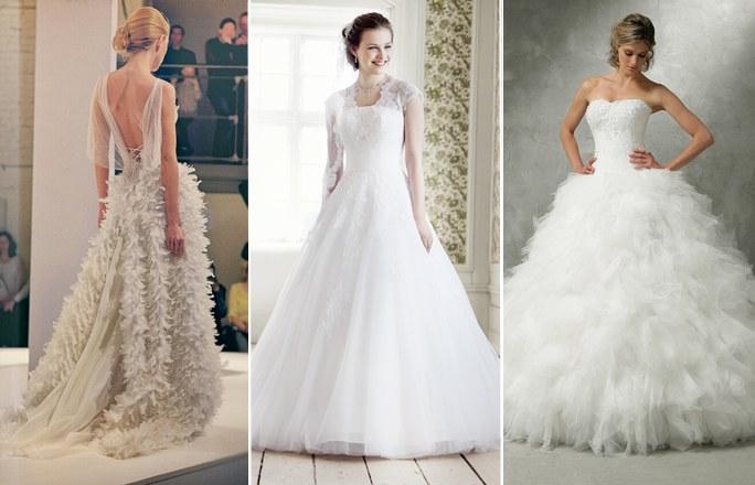 Brautkleider Tüll und Federn