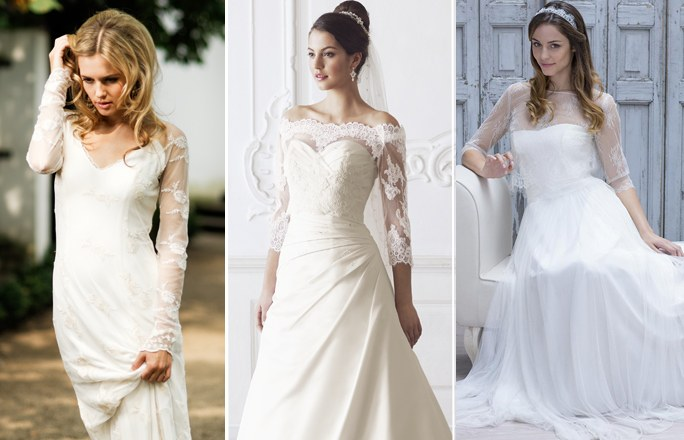 Brautkleider mit transparenten Ärmel