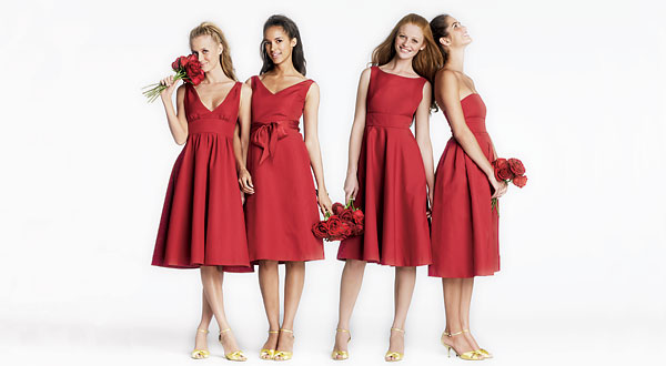roten herz-ausschnitt brautjungferkleider