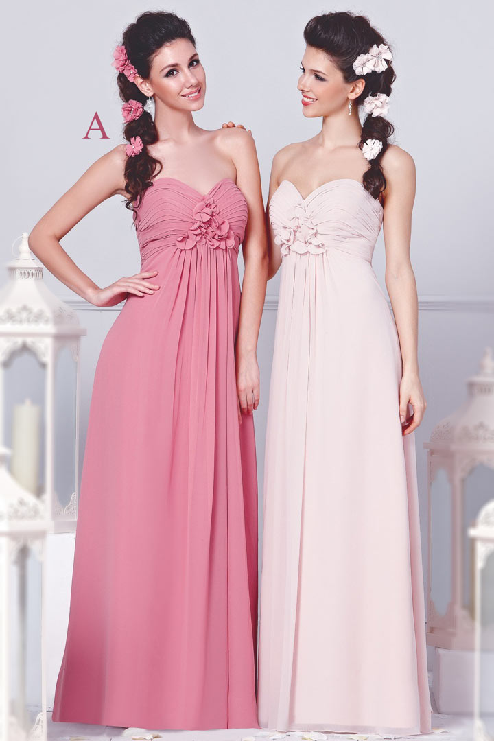 Chic-A-Linie-Rosa-Lang-Brautjungfernkleid