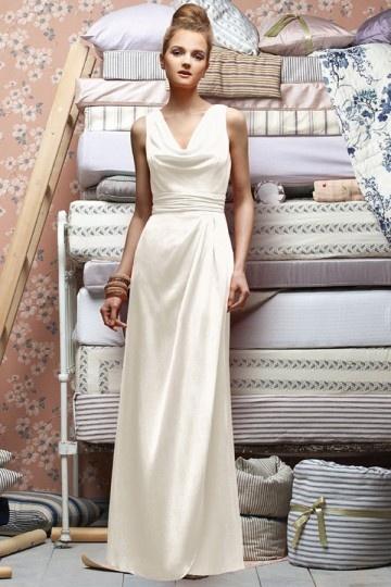 Wasserfall-Ausschnitt-Ivory-Lang-Brautjungferkleid-Abendkleid-PERSUNKLEID