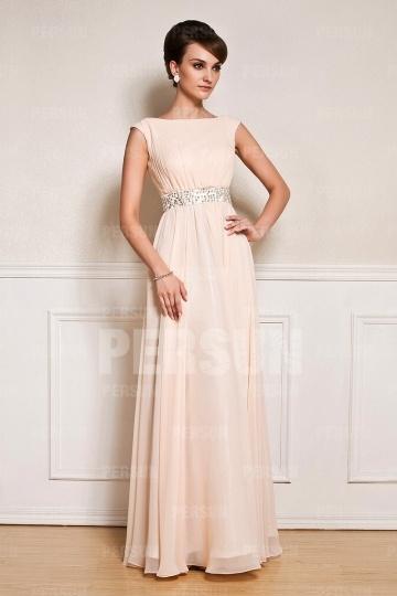 Rosa-Lang-A-Linie-Abendkleid-Persunkleid