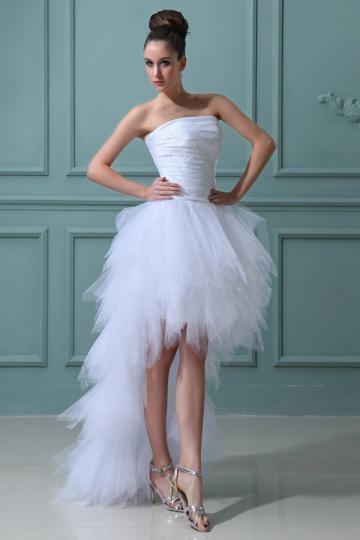 Trägerlos-Tüll-High-Low-Weiß-Brautkleid-Günstig-Persunkleid