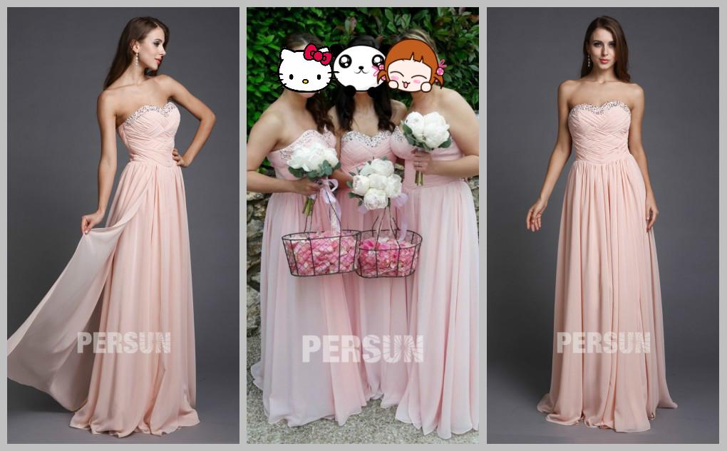 rosa trägerlos Brautjungfernkleider