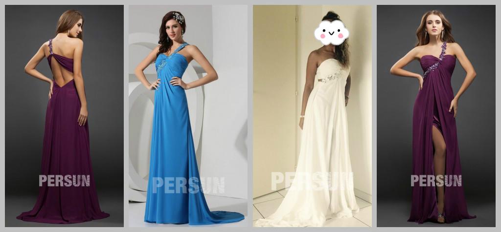 Lila blau weiß Abendkleider