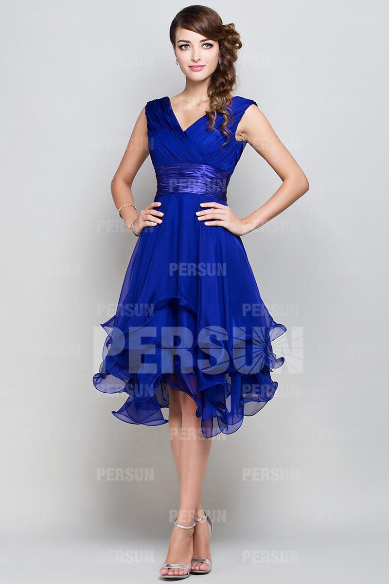blau elegant ernste V-Ausschnitt Abendkleider 2016