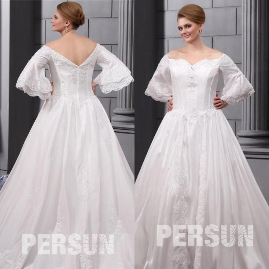 trägerloses übergroßes Herz Ausschnitt Brautkleid mit Ärmel