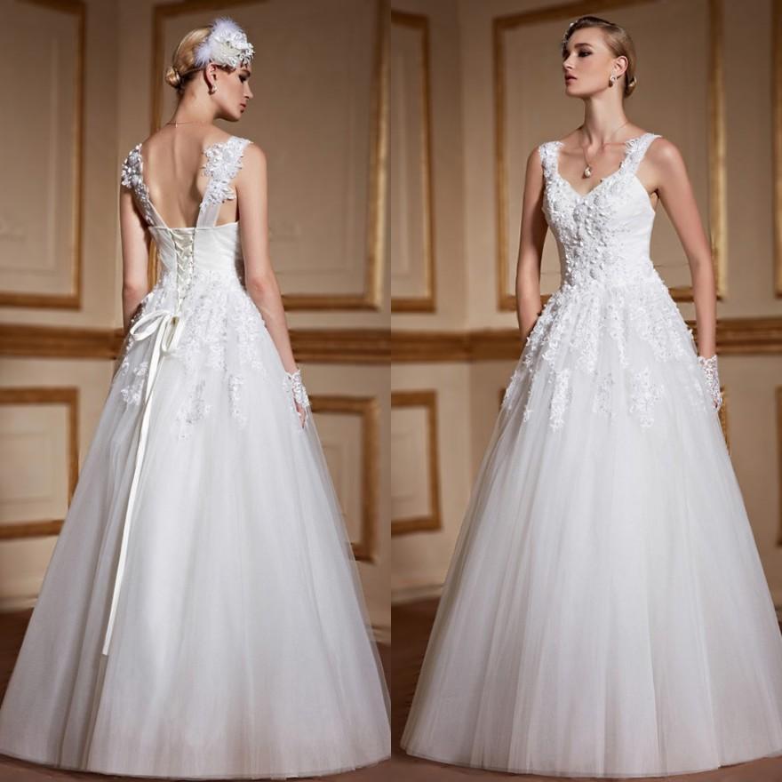 Ivory Ärmellos Brautkleider