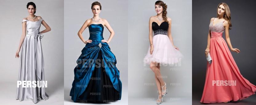 Kleider, die aus Satin, Taft, Organza und Chiffon hergestellt sind.
